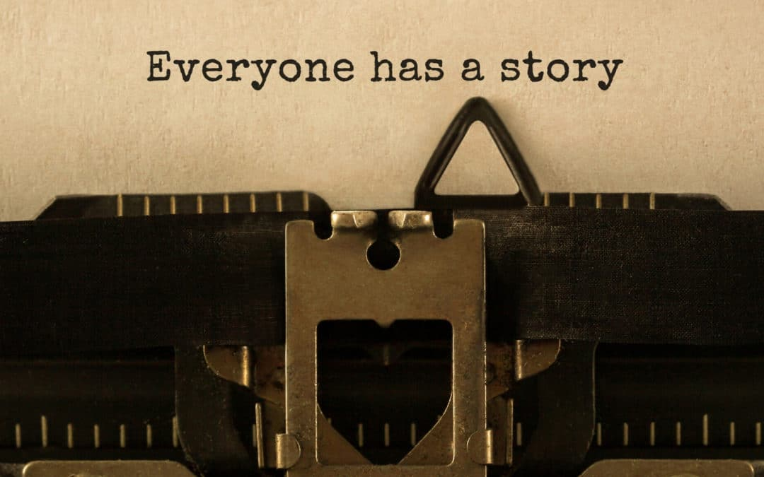 The Role of your Narrator in Fiction Writing: Are you Using your Narrator Wrong? blog featured image close up of a typewriter with the words everyone has a story printed