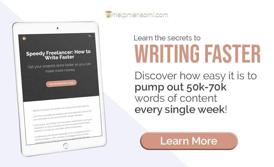 "Blog ad promoting the new course ""Speedy Freelancer: How to write faster"""