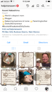 Create a seamless background effect on Instagram; screenshot of my Instagram profile showing the completed pattern running between posts.