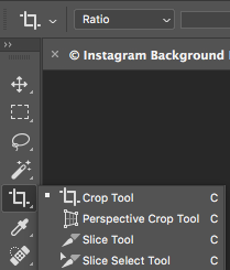 Create a seamless background effect on Instagram; Choose the slice select tool