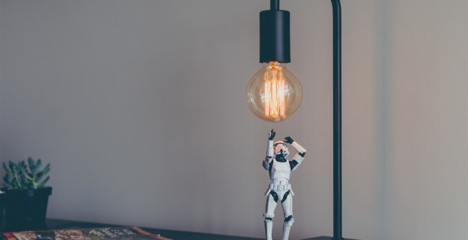 How to Create an Interact Quiz for your Chatbot Using ManyChat (blog title overlay, storm trooper trying to check out a light bulb)