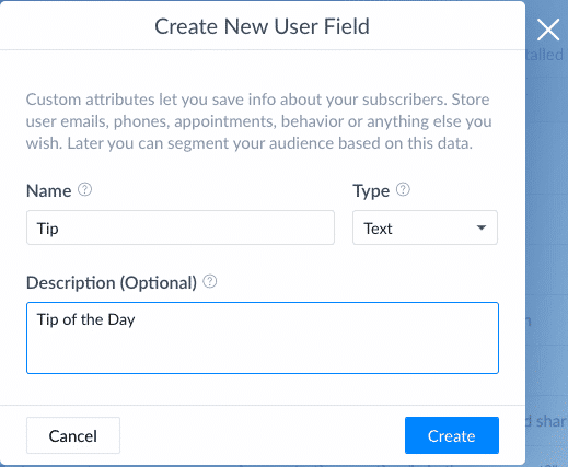 Screenshot Manychat create a new custom user field