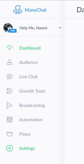 Screenshot ManyChat settings