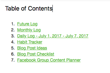 Evernote Screenshot Index - Table-of-Contents