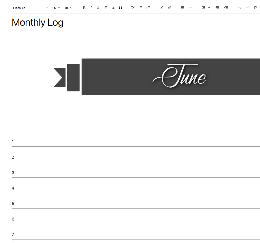 Evernote Screenshot Monthly Log Dates