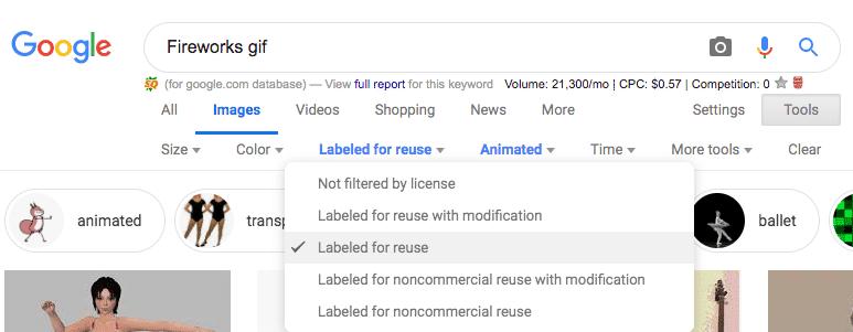 Google Screenshot Fireworks GIF search