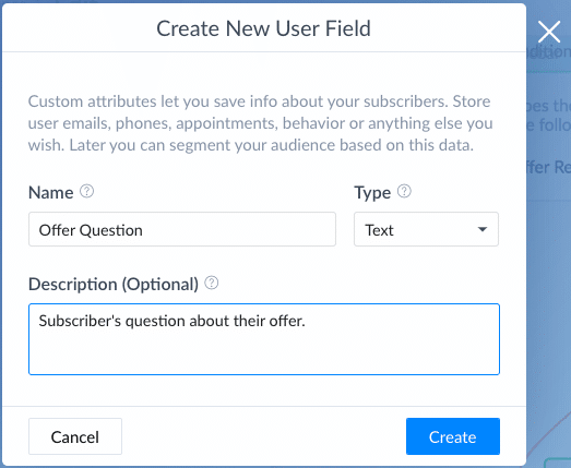 ManyChat Screenshot User Field Offer Question