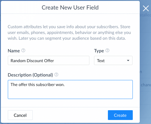 ManyChat Screenshot User Field Offers Settings