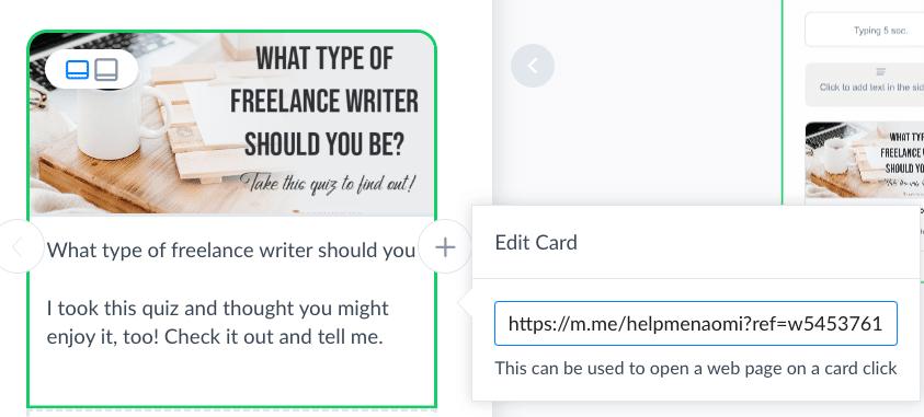 Screenshot ManyChat Card Fields