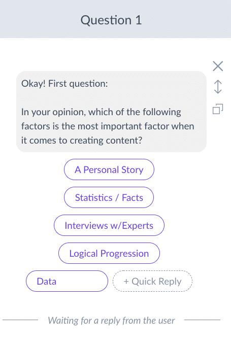 Screenshot ManyChat User Input Choice buttons