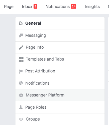 Facebook Page Screenshot Messenger Platform Settings