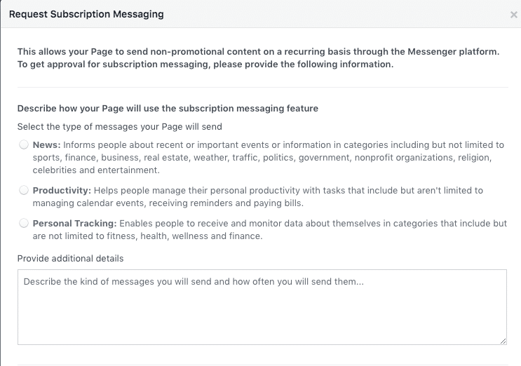 Facebook Page Screenshot Request Subscription Messaging Part 1