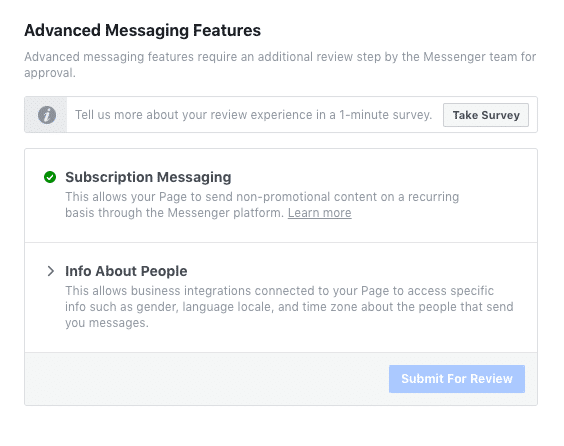 Facebook Page Screenshot Subscription Messaging Approved