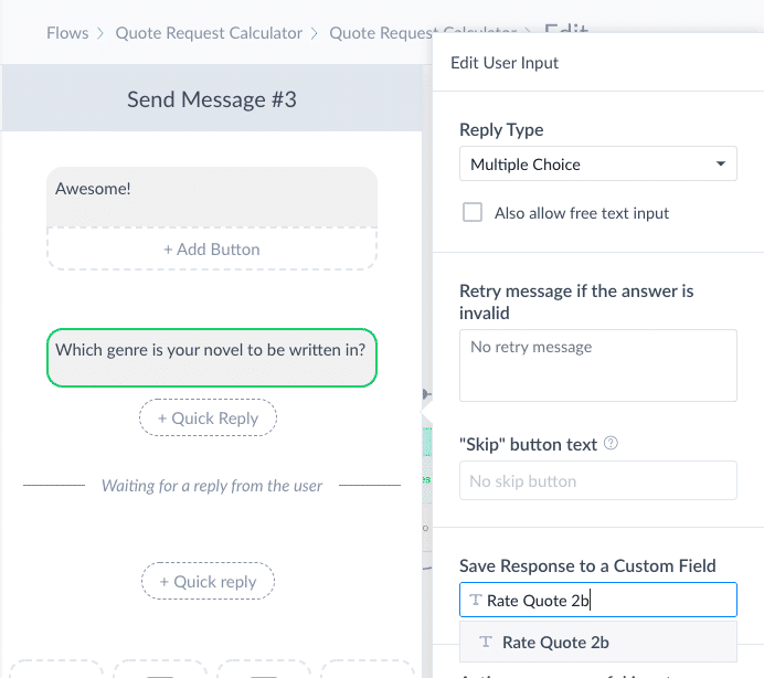 How to Build a Quote Request Calculator for Messenger in ManyChat 22