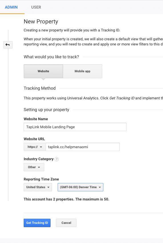 Google Analytics Screenshot add new property