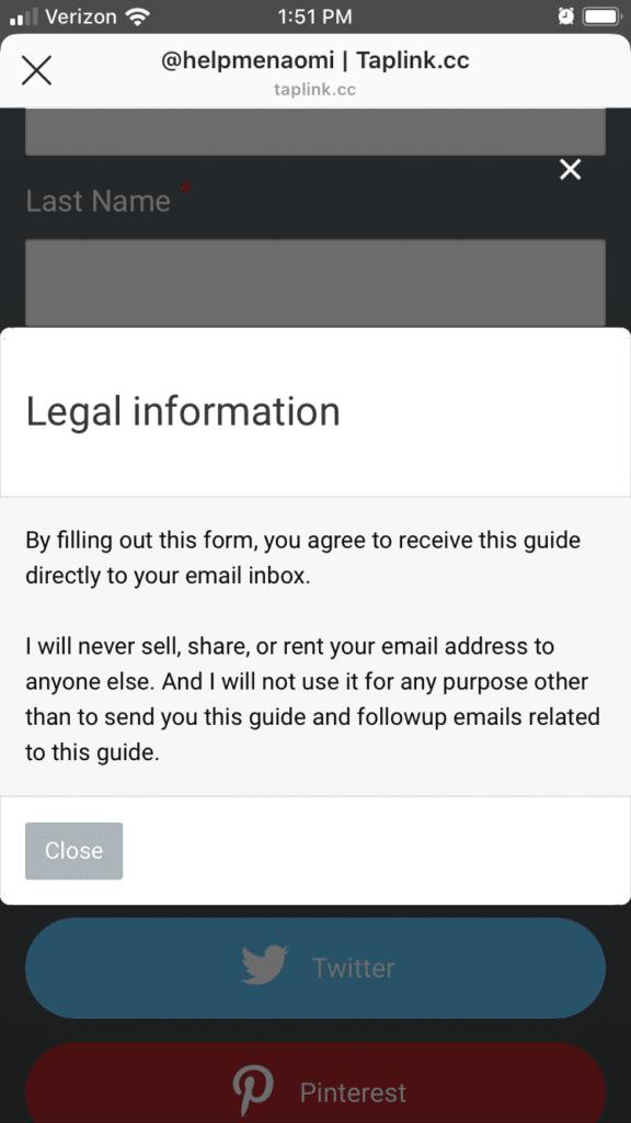 Live Taplink Screenshot Legal Information
