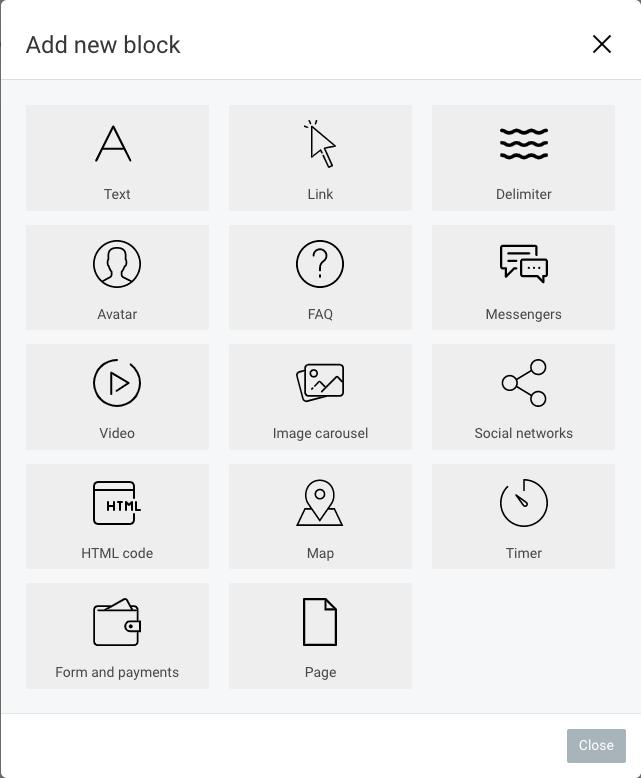 Taplink screenshot block types