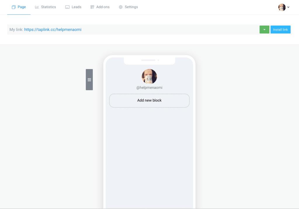 Taplink Screenshot new account