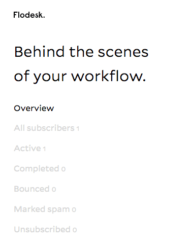 Flodesk screenshot workflow analytics at-a-glance